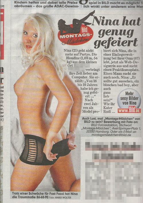Nina-Nice als Montagsmädchen in der Bildzeitung